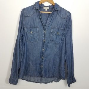 Cloth & Stone Anthro Blue Chambray Button Down Top
